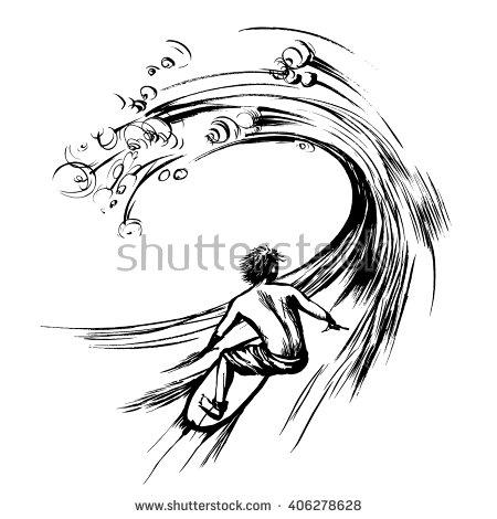 450x470 Surfer In Wave Brush Ink Sketch Handdrawn Serigraphy Print