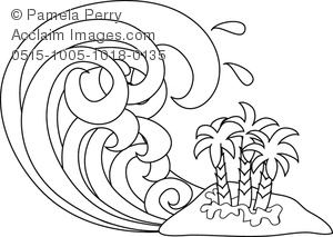 300x213 Art Image Of A Cartoon Tsunami In Black And White