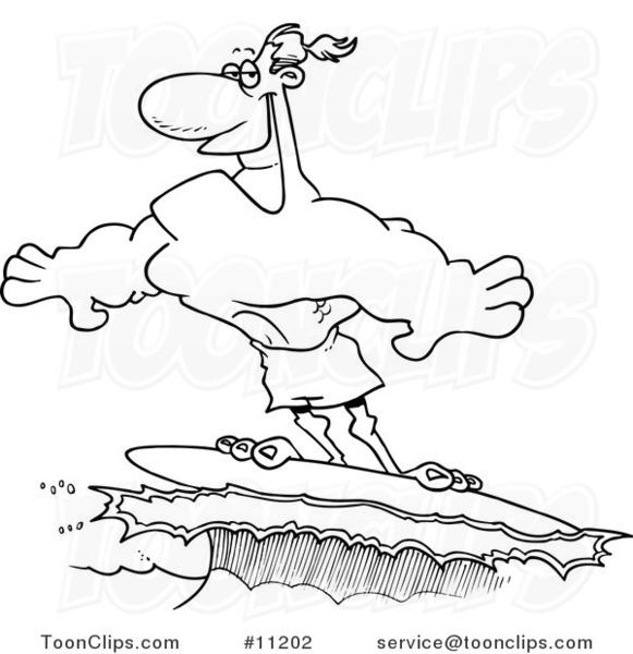 581x600 Cartoon Blacknd White Line Drawing Of Buff Surfer Riding