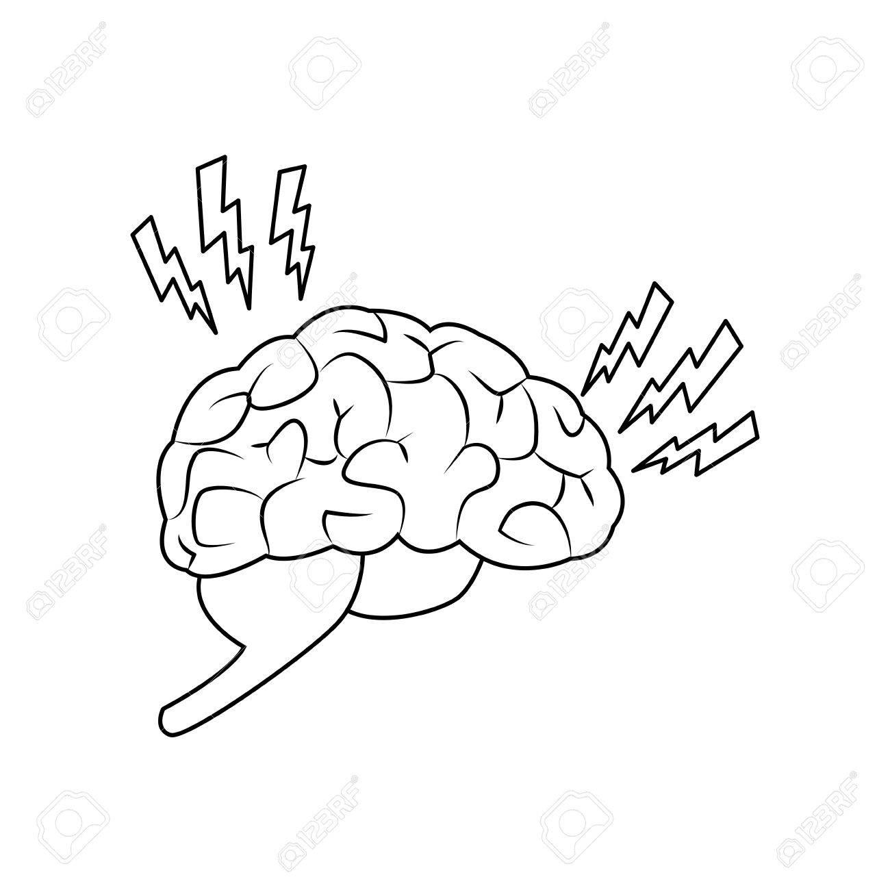 1300x1300 Abstract Human Brain Injury Stroke Cartoon Vector Illustration