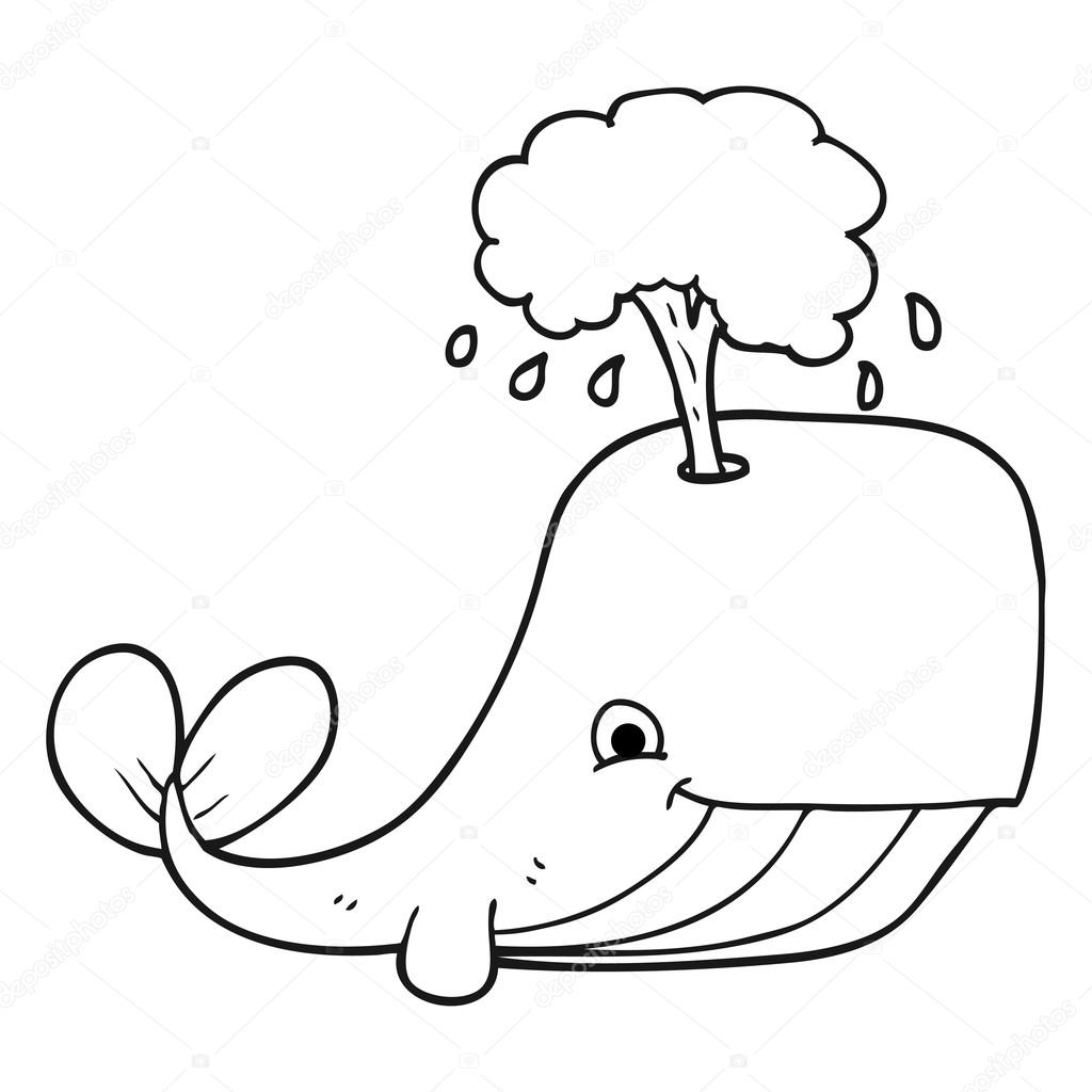 1024x1024 Black And White Cartoon Whale Spouting Water Stock Vector