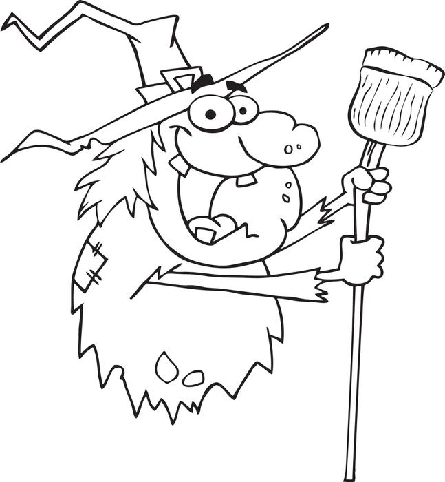 647x700 free printable halloween witch coloring page for kids - Pictures Of Witches To Colour In