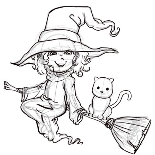 500x500 How To Draw A Cartoon Witch 7 Steps (With Pictures)