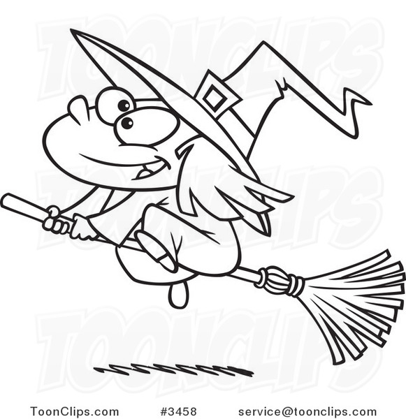 581x600 Cartoon Black And White Line Drawing Of A Flying Girl Witch