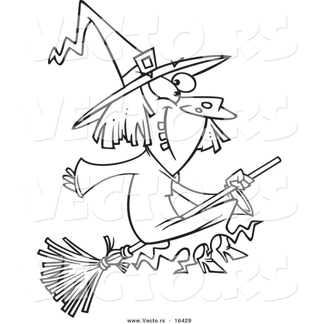 1024x1044 Vector Of A Cartoon Happy Witch On Her Broomstick