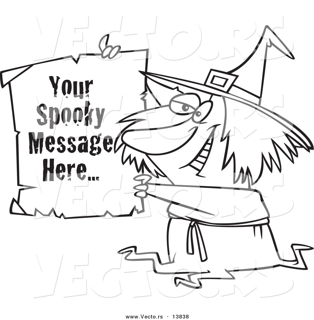 1024x1044 Vector Of A Cartoon Witch Holding Up A Piece Of Paper With Sample