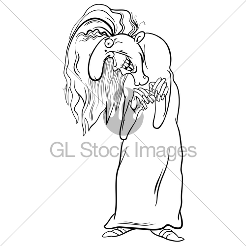 500x500 Witch Character Coloring Page Gl Stock Images