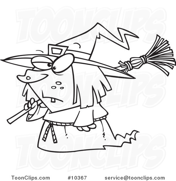 581x600 Cartoon Black And White Line Drawing Of A Short Witch