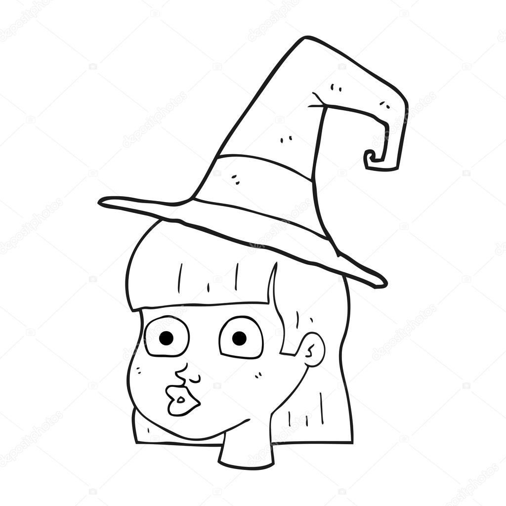 1024x1024 Black And White Cartoon Witch Stock Vector Lineartestpilot