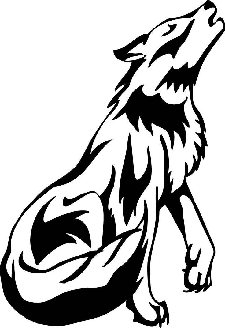 736x1071 Drawn Howling Wolf Cartoon