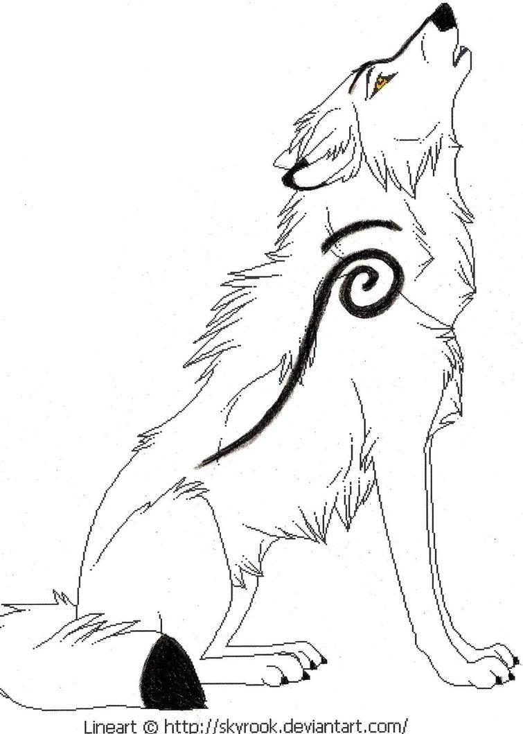 755x1059 Drawn Howling Wolf Werewolf