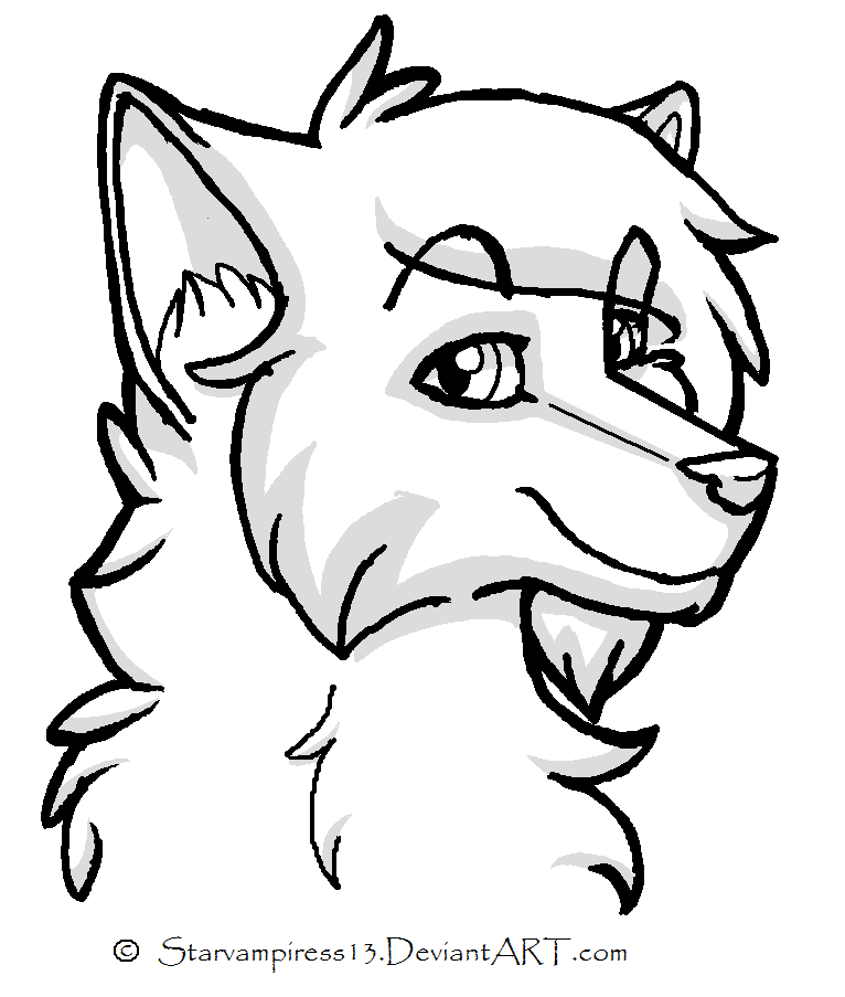 766x903 Cartoon Wolf Lineart By Ms Paint