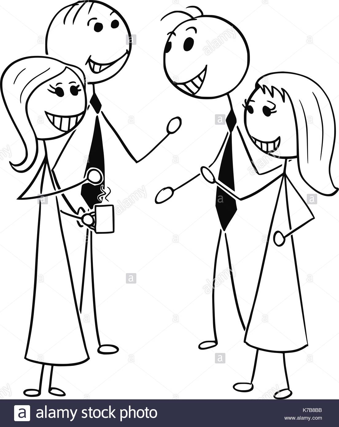 1104x1390 Cartoon Stick Man Illustration Of Two Men And Women Pairs Business