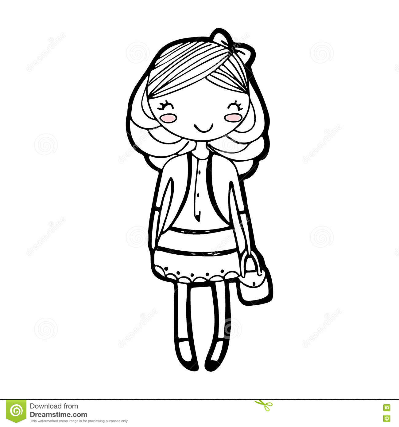 1300x1390 Girl Cartoon Drawing Cute Girl Cartoon Drawing Sketch Vector Stock