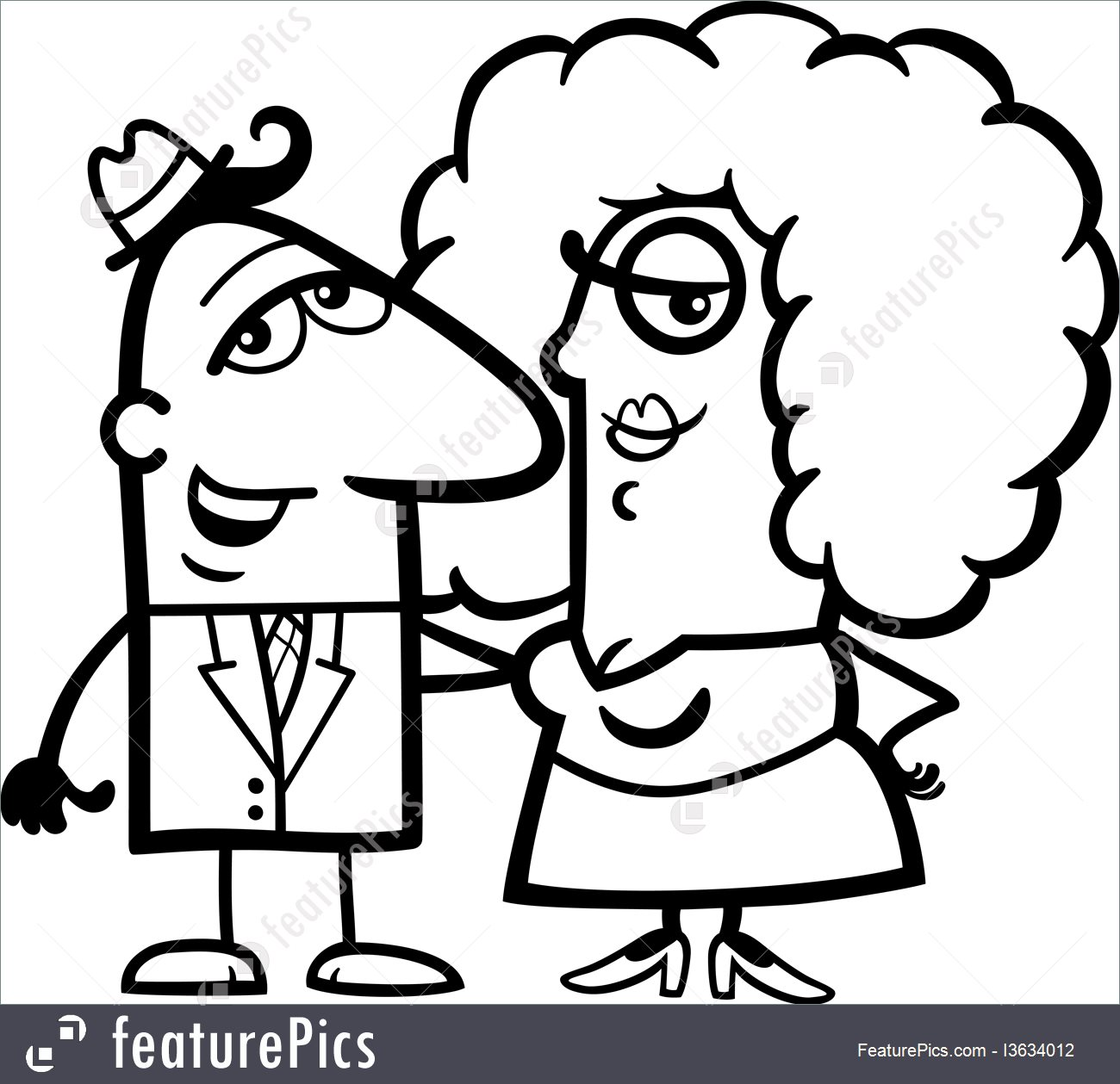 1300x1259 People Black And White Funny Couple Cartoon