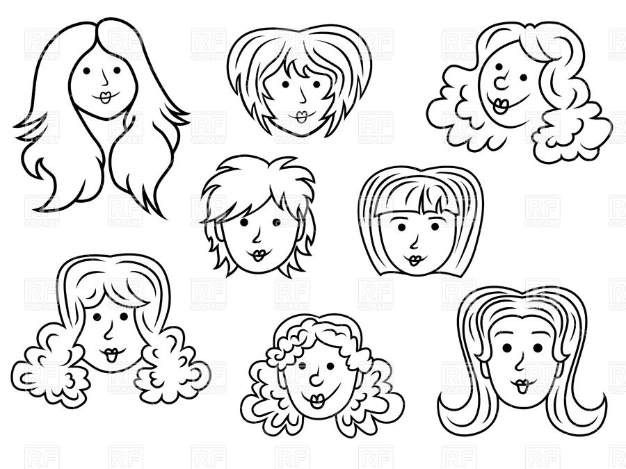 900x675 Sketches Of Funny Cartoon Woman Faces Royalty Free Vector Clip Art