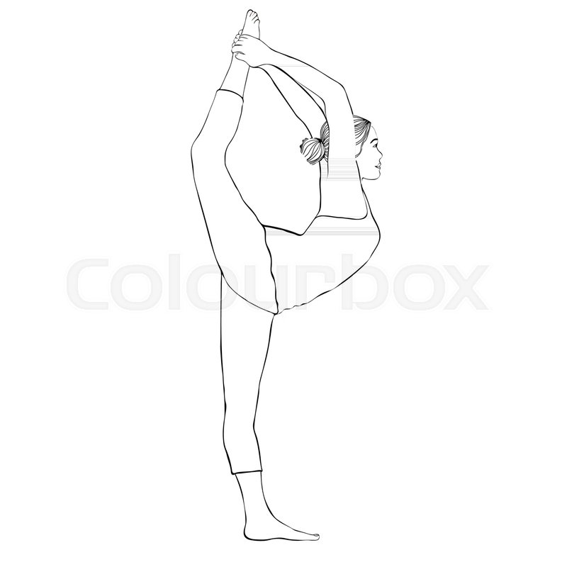 800x800 Yoga Pose, Woman Doing Stretching Legs, Leg Split, Vector Coloring