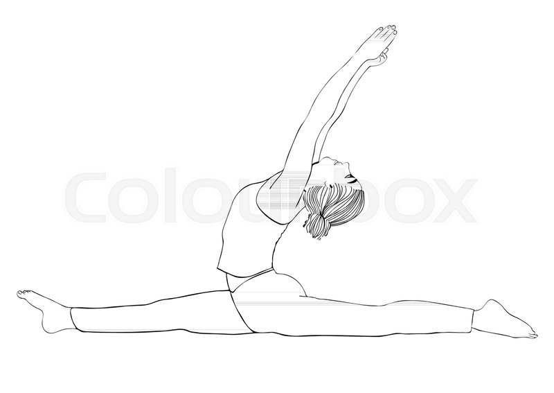 800x567 Yoga Pose, Woman To Do The Splits, Vector Coloring Drawing