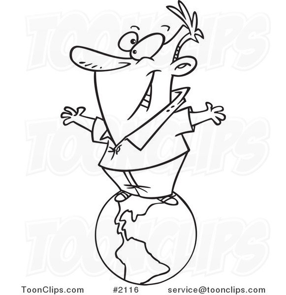 581x600 Cartoon Black And White Line Drawing Of A Happy Business Man