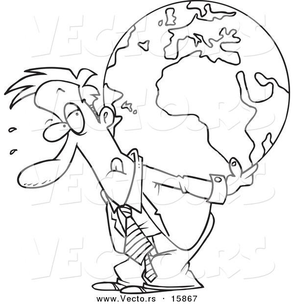 600x620 Vector Of A Cartoon Businessman Carrying A Burden Globe On His