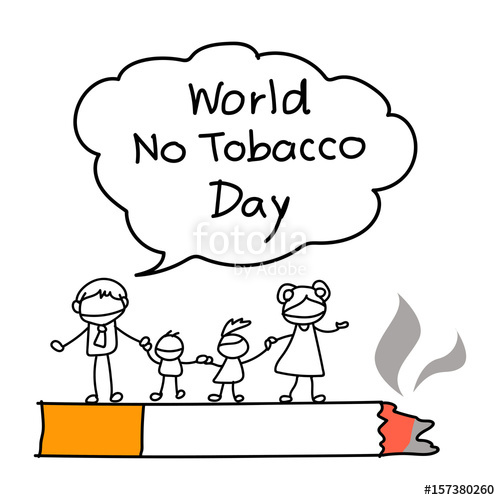 500x500 World No Tobacco Day Concept. Family Campaign. Hand Drawing