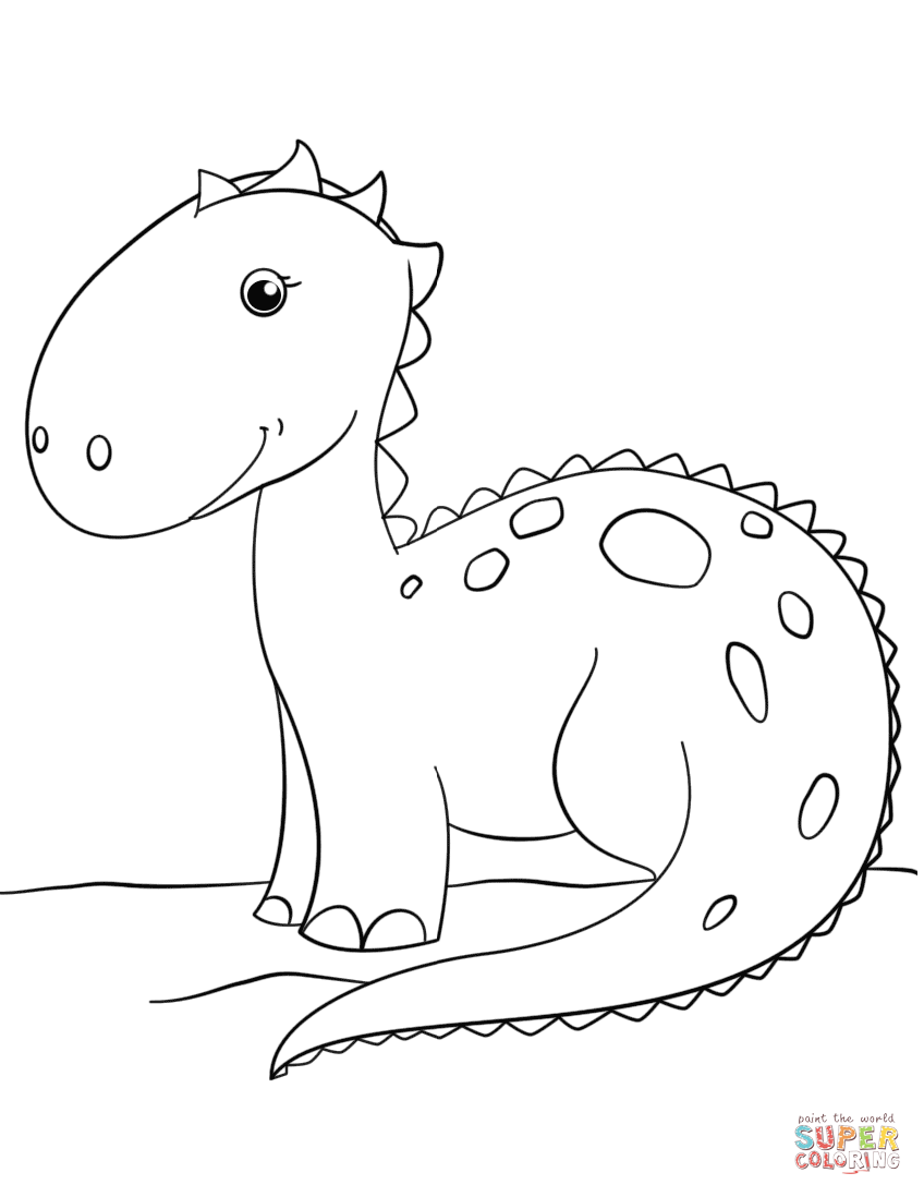 848x1098 Cute Cartoon Dinosaur Coloring Page Free Printable Coloring Pages