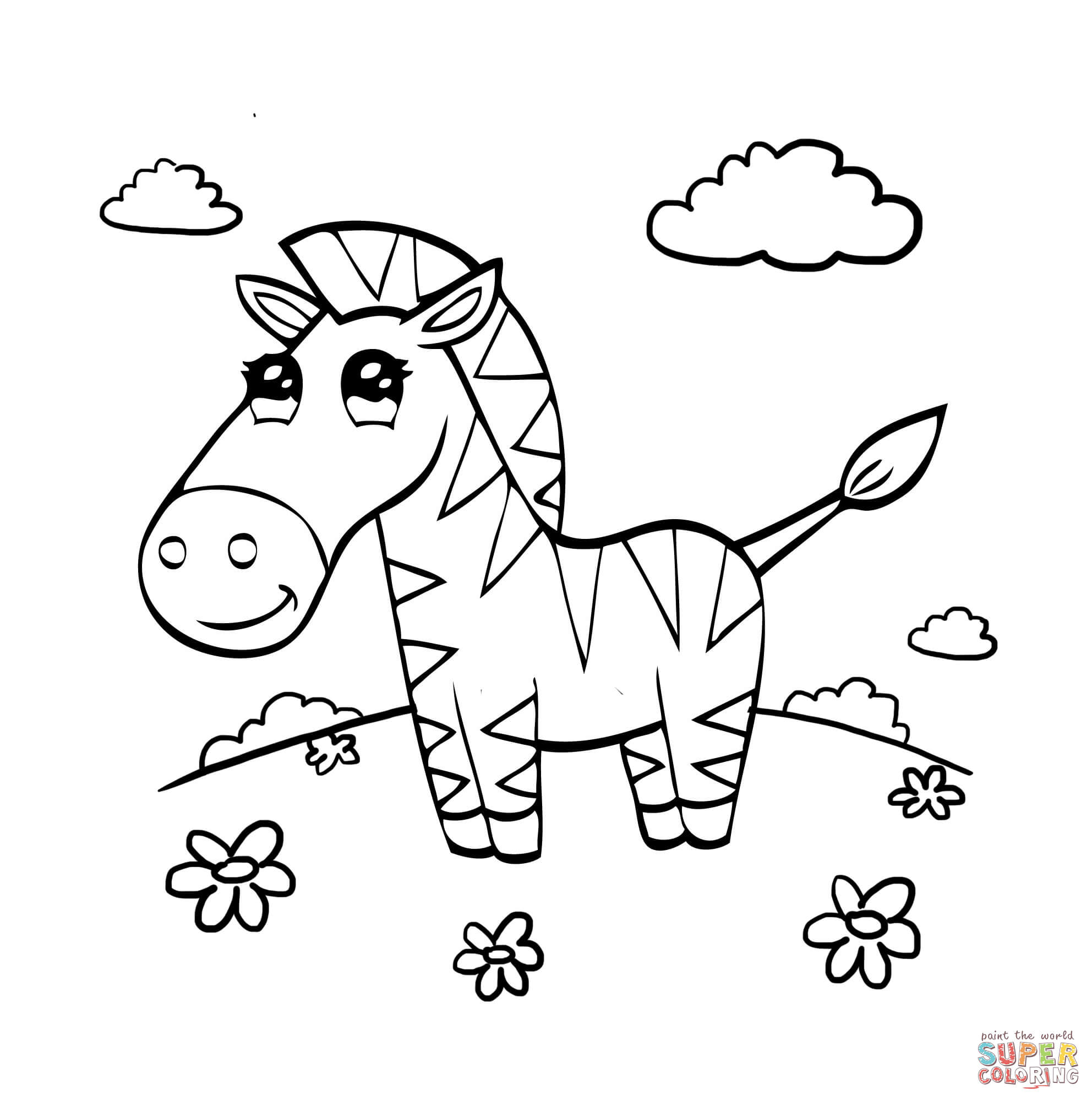 1984x2000 Cartoon Zebra Coloring Page Free Printable Coloring Pages