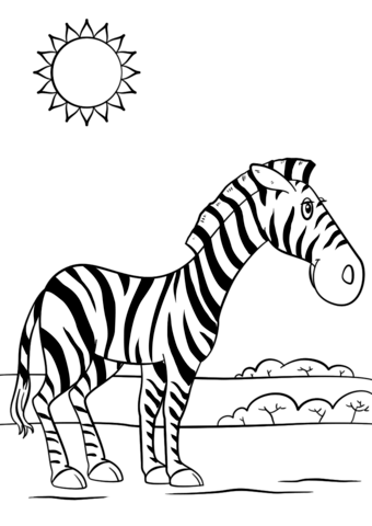 340x480 Cartoon Zebra Coloring Page Free Printable Coloring Pages