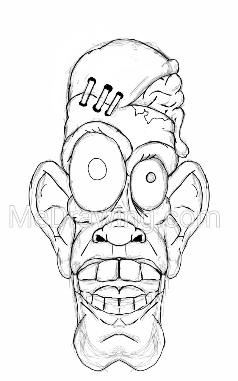800x1280 Crazy Zombie Sketch Drawing