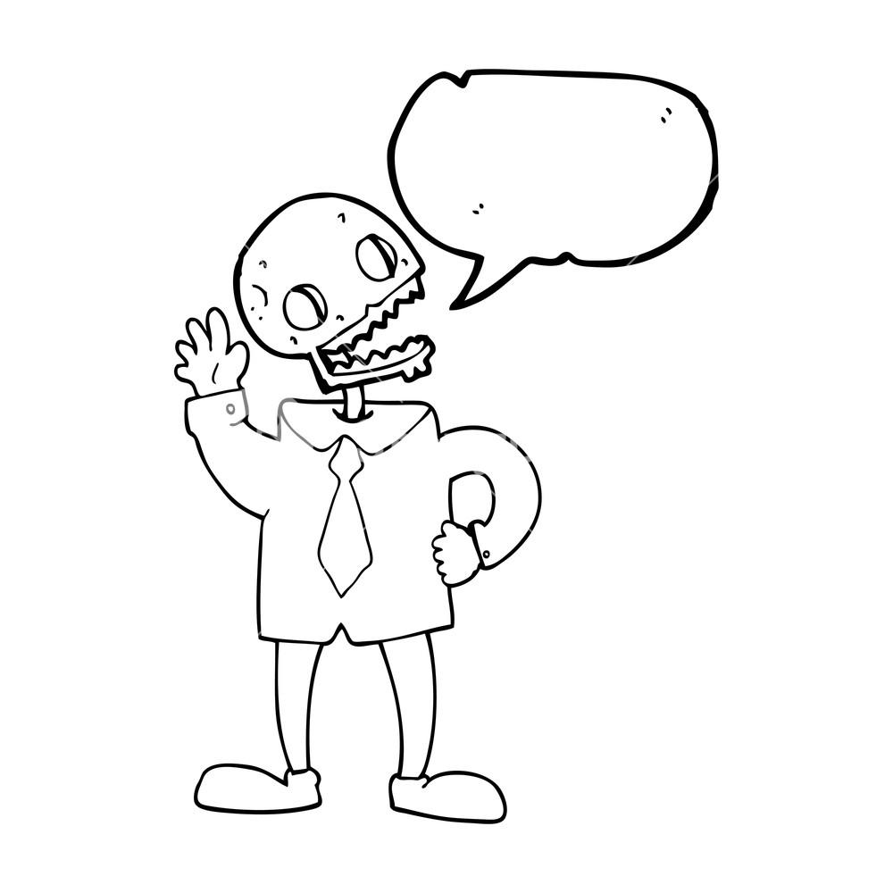 1000x1000 Freehand Drawn Speech Bubble Cartoon Zombie Businessman Royalty