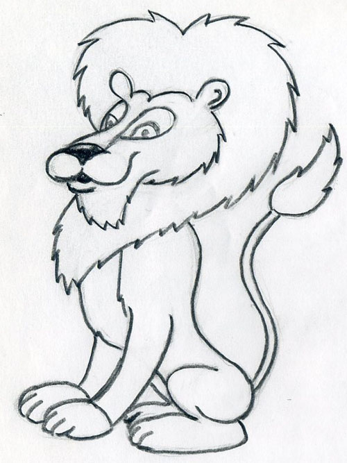500x667 pencil cartoon sketches how to draw cartoon lion in few easy steps