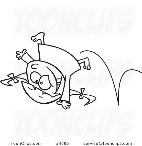 581x600 Cartoon Blacknd White Line Drawing Ofn Energetic Girl Doing
