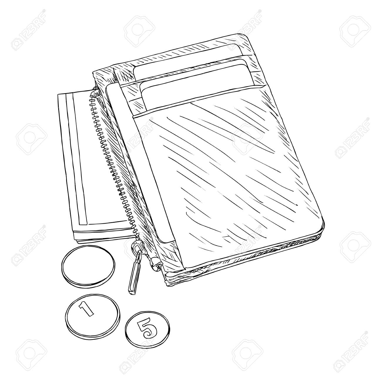 1300x1300 Wallet With Money And Credit Cards Sketch Of Wallet Full Of Cash