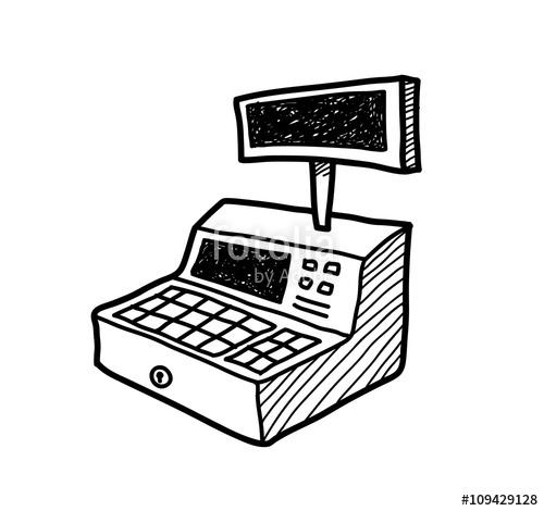500x470 Cash Register Doodle, Hand Drawn Vector Doodle Illustration