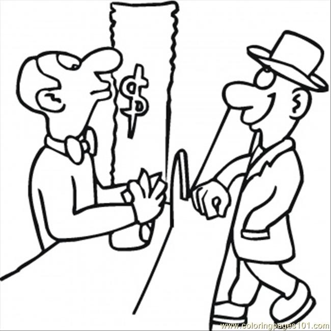 650x650 Cashier Coloring Page