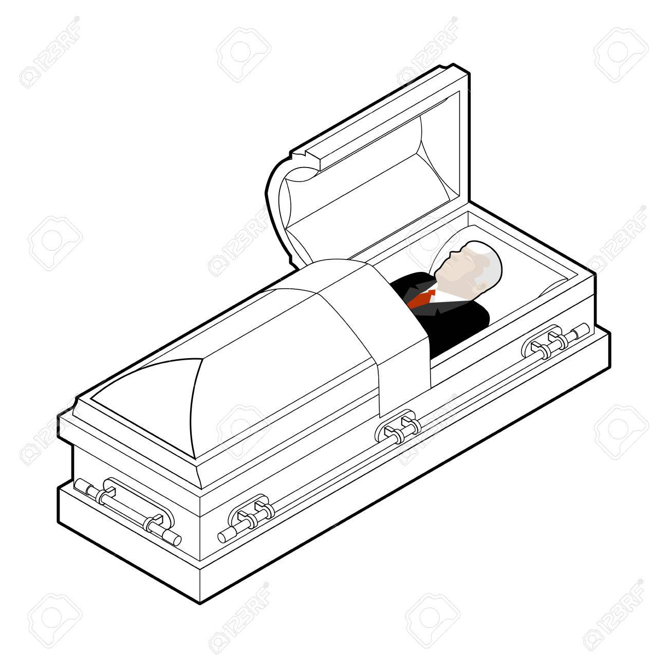 1300x1300 Deceased Coffin. Dead Man Lay Wooden Casket. Corpse