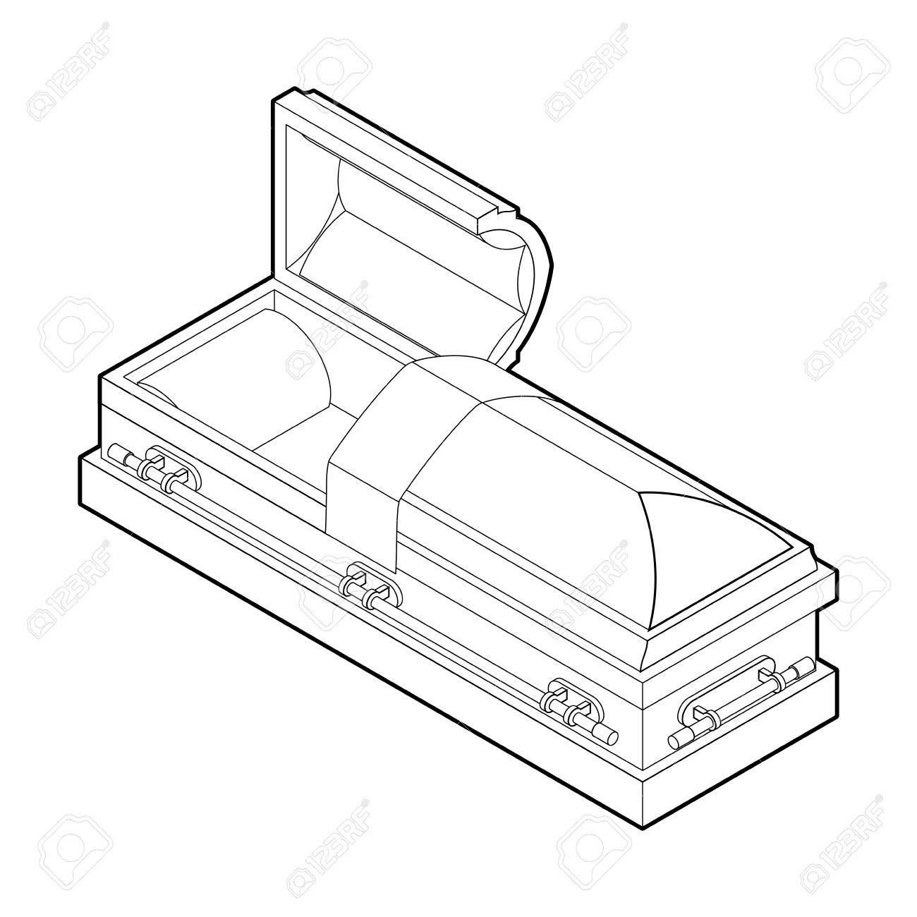 1300x1300 Open Coffin In Linear Style. Wooden Casket For Burial. Red Hearse