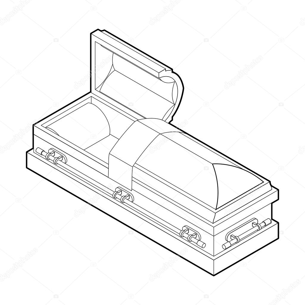 1024x1024 Open Coffin In Linear Style. Wooden Casket For Burial. Red Hears
