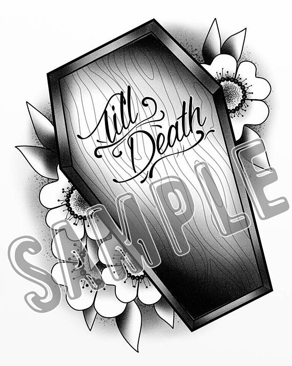 570x713 Till Death Tattoo Flash Style Coffin Casket Romantic Goth