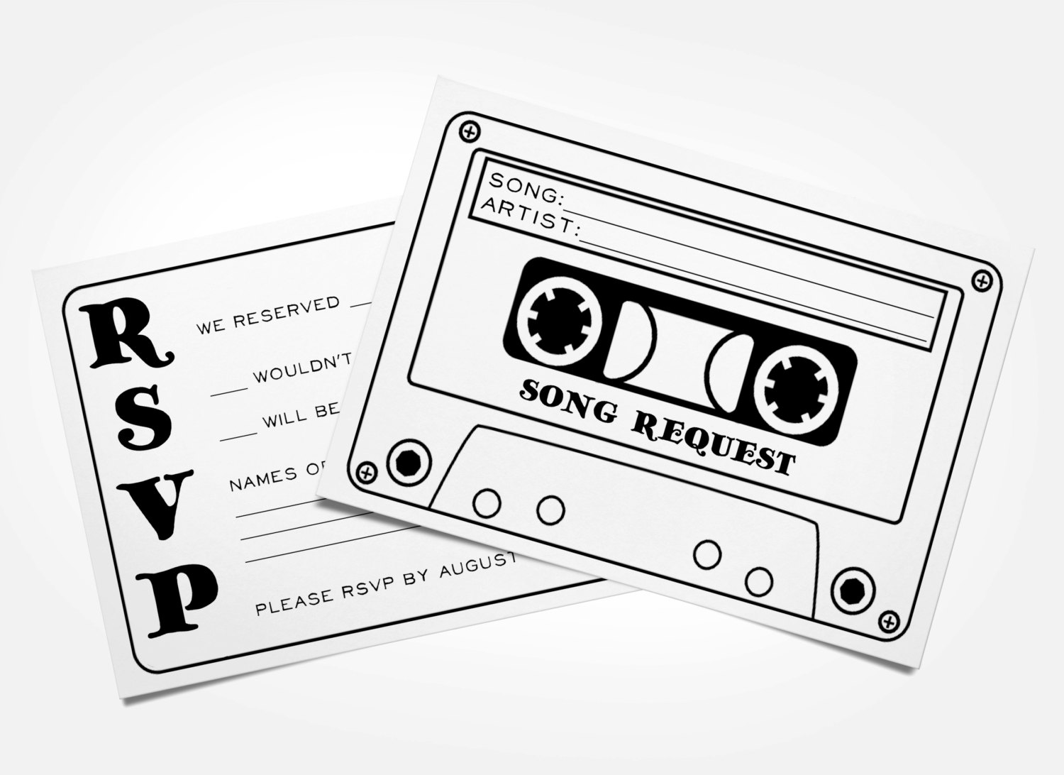 1500x1092 Cassette Tape Song Request Wedding Rsvp Card Printable
