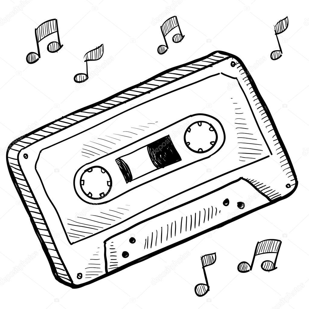 1024x1024 Cassette Tape Sketch Stock Vector Lhfgraphics