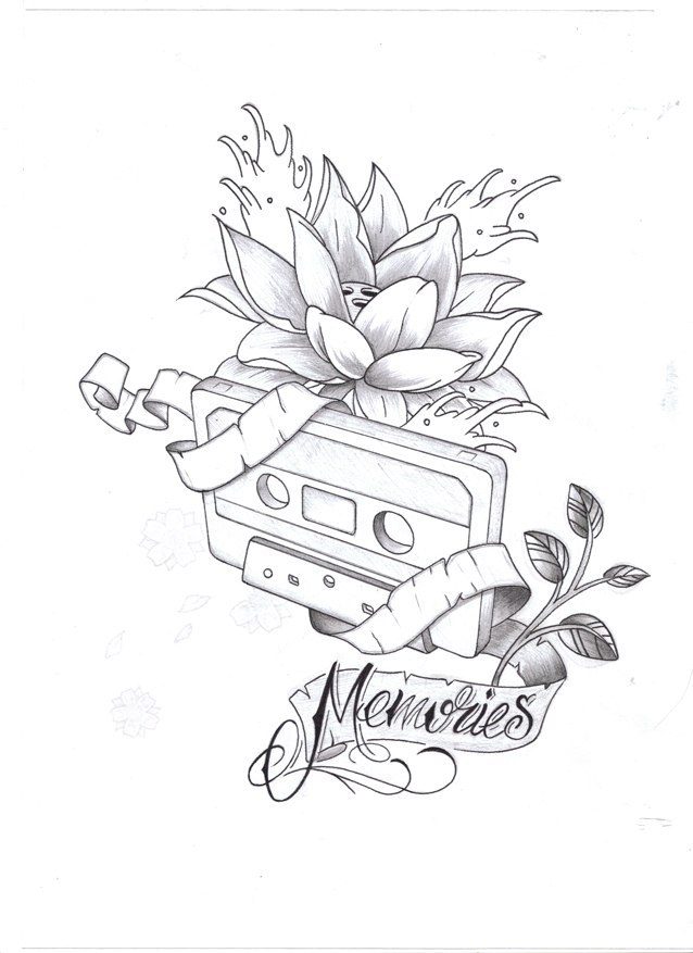 638x877 Memories Cassette Tattoo Sketch Best Tattoo Designs