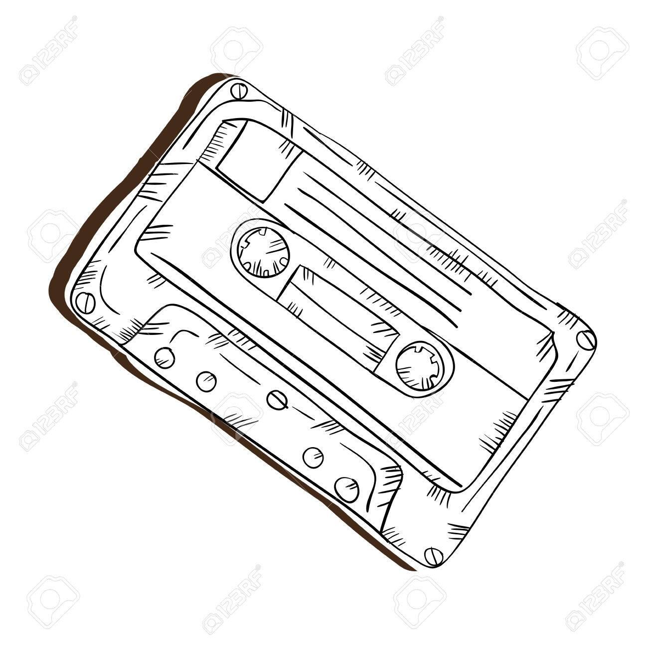 1300x1300 Retro Cassette Vintage Stereo Tape. Draw Design. Vector