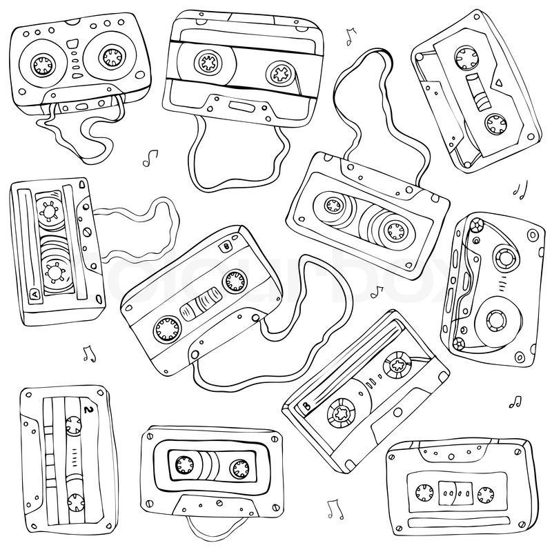 800x800 Set Of Retro Cassette Tapes. Vector Illustration. Stock Vector