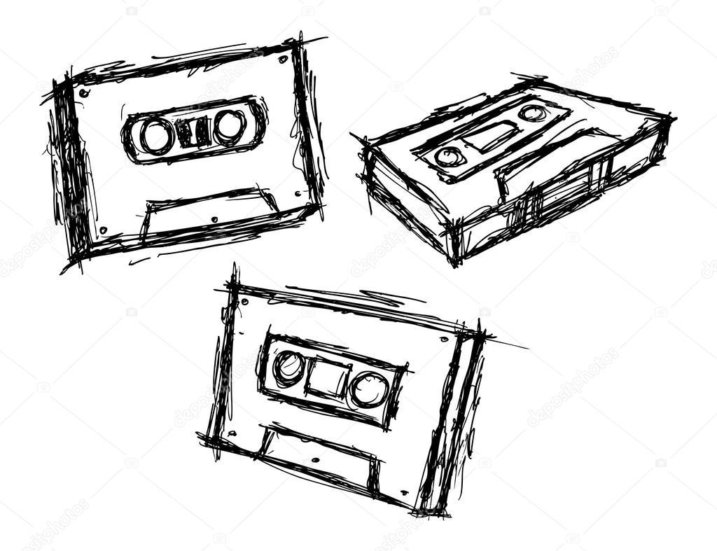 1024x787 Set Of Sketchy Vintage Cassette Stock Vector Mhatzapa