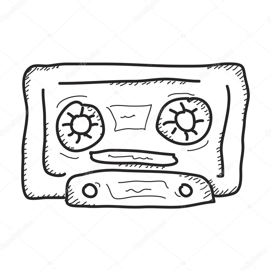 1024x1024 Simple Doodle Of A Cassette Tape Stock Vector Chrishall