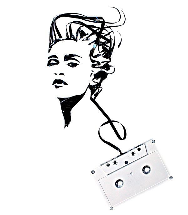 600x686 Cassette Tape And Junk Art Portraits