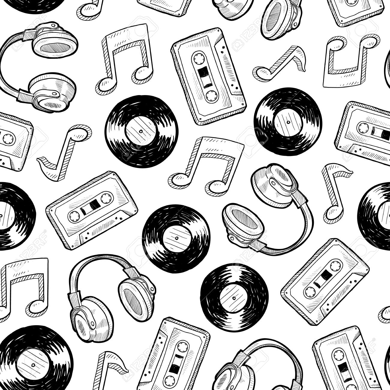 1300x1300 Doodle Style Music Media Seamless. Includes Vinyl Records, Music