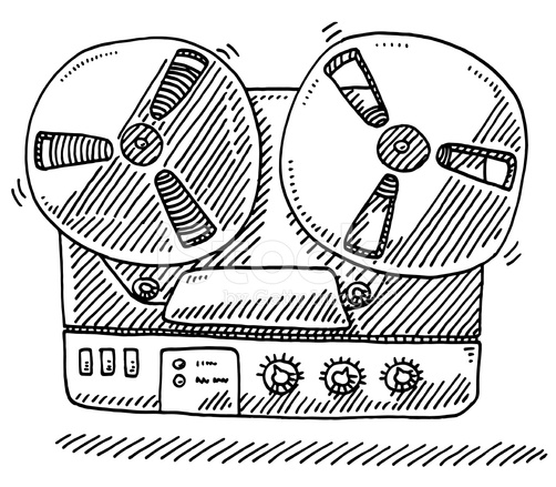 502x439 Old Style Tape Recorder Drawing Stock Vector