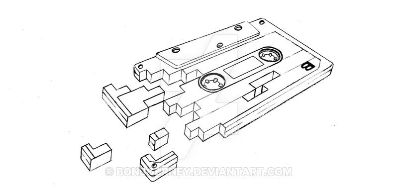 800x390 Tape Cassette Tattoo Design By Bonbourney